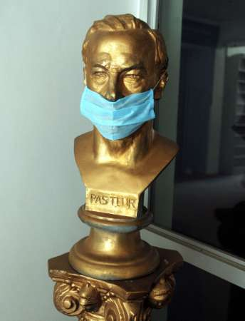 Louis Pasteur, french scientist, is shown here gagged in the Smithsonian as more americans show disdain for the french in a reprise to their recent anti-americanism.