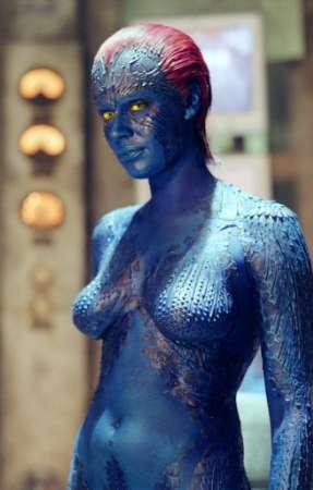 Actress Rebecca Romijn-Stamos reprises her 'X-Men' role as 'Mystique' in the new action film 'X-2', which opens May 2, 2003 in the United States.  Surveys show that 72% of all men would consider sleeping with a ?hot blue chick,? but 22% would want her to keep her eyes closed if they were yellow.  (Associated Press)