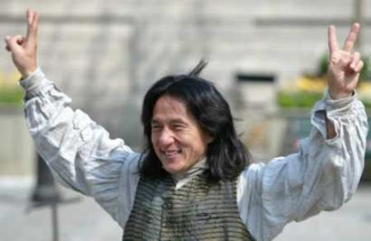 Actor Jackie Chan is seen here accepting praise after returning from Hong Kong where he allegedly 'kicked the SARS virus' butt.'