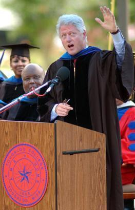 Former President Bill Clinton recruits subjects for ?College Girls Gone Wild? during commencement exercises at Tougaloo College in Jackson, Mississippi.  ?I?m not wearing anything underneath this gown; the rest of the day is up to you,? Clinton said.  (Associated Press)
