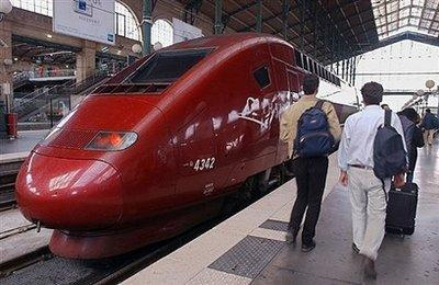 A baby girl was born Monday on a high-speed train linking Paris and Brussels, the first such case since the Thalys rail service was created in 1996, the company said Monday.  The baby was conceived during the first forty seconds of the trip, gestation lasted 22 minutes, and the birthing process took just over one minute.  By the time the train arrived in Brussels, the baby was thirteen months old and walking.  (Associated Press)