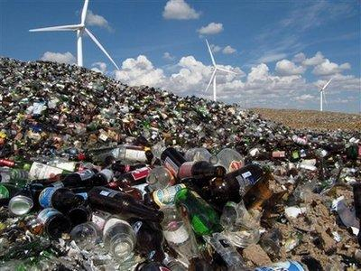 A photo showing General Electric's latest line of glass-powered fans was taken outside Cheyenne, Wyoming, recently. Though the technology is highly classified, it is believed that jars and bottles that were previously discarded or recycled can now be used to power giant fans, creating gentle breezes on otherwise calm days.  Company officials ultimately hope to create huge kite parks throughout the United States. (Associated Press)