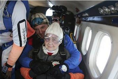 In this September 19, 2009, photo released by Jumpdown, Jane Bockstruck, front, sits with her sky diving 'instructor' Paul Peckham before jumping from an airplane over Orange, Massachusetts. Bockstruck, 92, a resident of Swanzey, NH, had been suffering from a variety of ailments and her family had decided 'it was time.'  The family told her she was going to Disney World.(Associated Press)