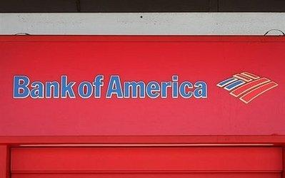 A sign is seen at a Bank of America branch in July 2009 in Pasadena, California. Despite early signs of a fledgling recovery in the US financial sector, Bank of America Friday highlighted ongoing economic struggles posting a net quarterly loss of 1.0 billion dollars.  CEO Kenneth Lewis is considering returning his half-billion dollar bonus in order to minimize the negative effects on stock prices, a company spokesman said. (Associated Press)