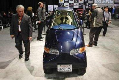 The Commuter Cars Tango electric car is seen at the 2010 North American International Auto Show during press days in Detroit, Michigan January 12, 2010.  Although the concept appeals in principle to the earth-hugging Kirstie Alley, CEO Doug Minnis insists 'the vehicle would not be a good match for a woman of her size and weight.'
