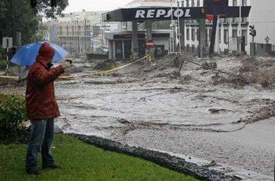 The Repsol gas station at the corner of 5th and Main in downtown Funchal, Madeira, has announced it will be closed today at least until noon following floods and mudslides caused by torrential rains on Saturday on the Portuguese island of Madeira, a popular tourist destination, local media said. State-run news agency Lusa quoted officials at the mayor's office in Madeira's capital Funchal as saying that both the Mountain Dew Slushee machine and the rolling hot dog warmer had shorted out when waters rose this weekend.  (Associated Press)