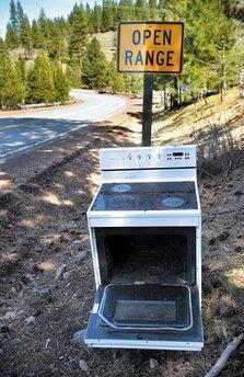 A super lame-o jokester takes flight with a crashing thud in Idaho recently and dumps a worthless appliance roadside at the same time.  'It's not even funny because it's so stupid and everything,' said one observer, 'like something you'd find on a whack website that tries to be funny to two hundred people a day, tops.'  (Associated Press)