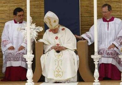 Pope Benedict XVI nodded off during a mass at the Granaries in Floriana April 18, 2010.  After he was revived. the Pope decreed that from that point on, no Mass 'shall be longer than thirty minutes or the confessions are free.'