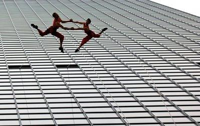 Two lovers leap to their deaths during a recent suicide plunge in Dallas recently.  The couple, Robert Ewing and Tiffany Cooper, were reportedly despondent over not being able to find work as ballerinas in a difficult economy, friends and families said. 'They were despondent over not being able to find work as ballerinas in a difficult economy,' a friend of the family said.  (Associated Press)