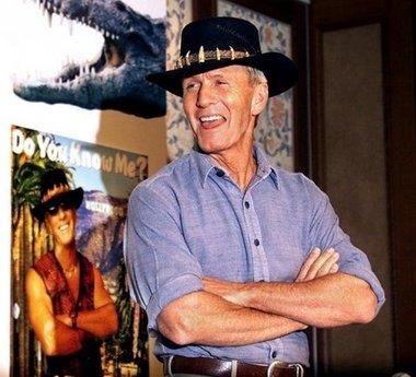 Although Australian actor Paul Hogan is not quite dead yet, the outback Australian pub that featured in the 1980s hit movie 'Crocodile Dundee' is to be sold because the current owner wants a break from working in the tourist attraction.  'This is the thirty-fourth hat I've had to buy since the original movie,' Hogan stated, 'which I am required to wear so people will recognize me.  I'm exhausted.'  The pub may be turned into a Chili's or TGI Friday's, according to local developers.
