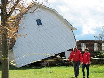 Officials in Turncotte, PA, condemn a barn recently raised by a group of intoxicated Amish people. The barn, which was constructed in one day as is the custom of the Amish, was left standing on a twenty degree angle.  Passers-by reported the group had been drinking and partying during the construction project, and an investigation is underway regarding possible BUI (building under the influence) charges against some of the church's elders.  (Associated Press)