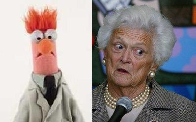 Former first lady Barbara Bush, seen here in an interview recently, does her rare but accurate impersonation of The Muppet Show character, 'Beaker,' shown left.