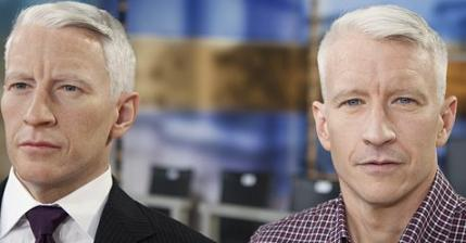 Television journalist Anderson Cooper poses for a photo with his recently revealed twin brother, Sanderson. CNN admitted the two have been sharing duties both on and off camera for the network 'for several years now,' stated one network official, 'as it would have been ridiculous to expect Anderson to maintain his workload and his freshness.' Despite the revelation, however, CNN will not disclose which brother is on the air at any time and will continue to use only the name 'Anderson' to regard the persona.  (Associated Press)