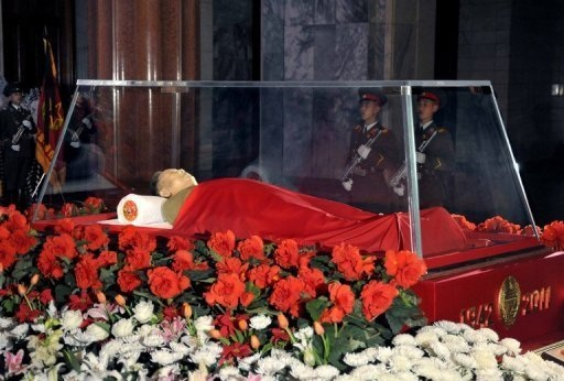 The body of late North Korean leader Kim Jong-Il shown in state at the Kumsusan Memorial Palace in December, 2011. North Korea has said Kim is 'relaxing for all to see, as all is well,' as the new regime has decided that its people are not yet ready to accept the death of their beloved leader.  (AFP)