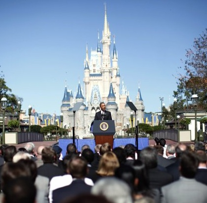 U.S. President Barack Obama unveils a plan to relocate the White House function to Cinderella's Castle at Disney World's Magic Kingdom in Orlando. 'The world will more readily associate the United States of America with good times and a wholesome image,' the President promised. The move is expected to be completed by August, but the houses of Congress will remain in Washington, DC, officials said. (REUTERS/Kevin Lamarque)