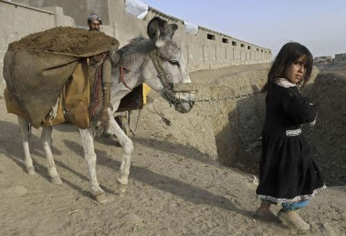 An Afganhi girl and her father guide their donkey on the outskirts of Kabul on their way back home from a dirt market. As the Afghan economy crumbles under the weight of war, families have begun eating dirt as a means of fighting hunger. (REUTERS)