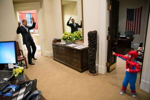 During the recent 'Hollywood Goes To Washington' tour, Tobey Maguire goofs off with President Obama. Shortly after the picture was taken, Christian Bale stunned the President with the Bat-Taser and was taken down by thirty-two Secret Service men.