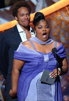 Actress Nell Carter, rumored to have passed away last year, surprised everyone in attendance by appearing at the NAACP Image Awards in Los Angeles, Saturday, March 8. Carter and actor Gary Dourdan are shown as they present an award.  (Associated Press)