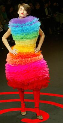A model presents a multicoloured creation by Ukrainian-born fashion designer Stanislassia Klein, for Stella Cadente's Fall-Winter 2003-2004 ready-to-wear collection presented in Paris, Saturday, March 8, 2003.   Needless to say, this kind of crap needs to stay in the Ukraine.